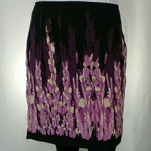 Ashley Stewart Purple Flower Garden Midi Skirt 14